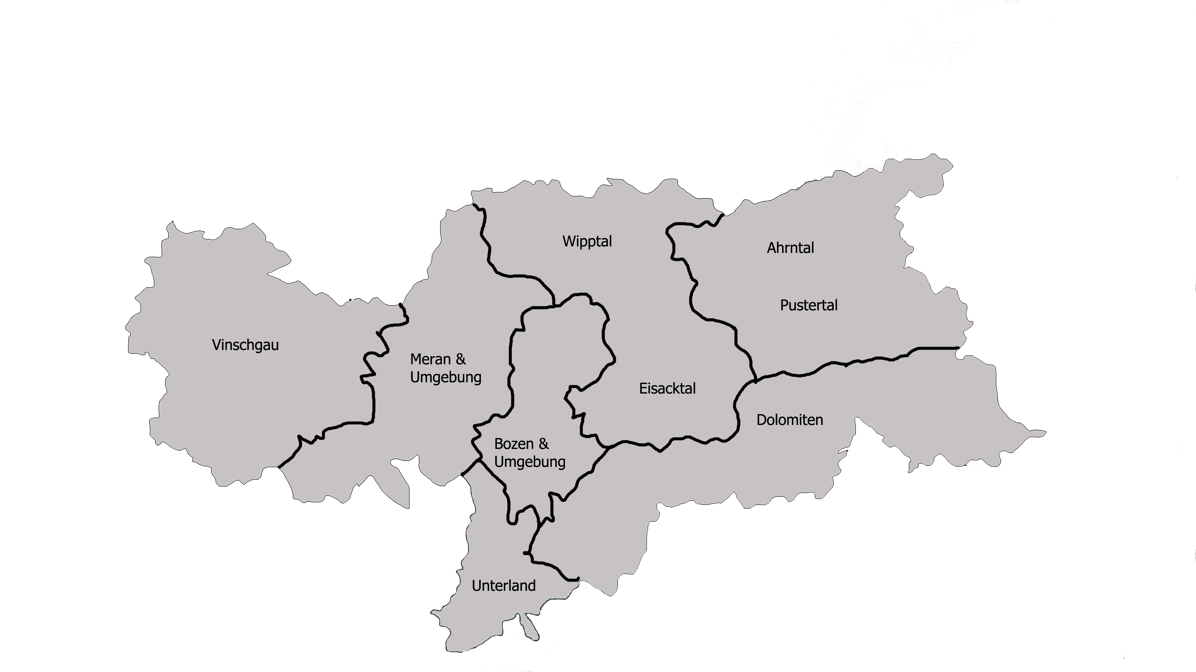 The regions of South Tyrol