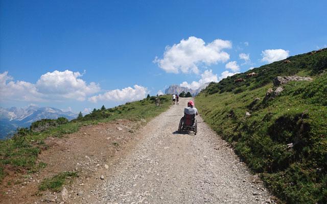 Wheelchair-Tours-Wheelchair-Hiking-Seiser-Alm-Mahlknechthuette-hinter-Almrosenhütte