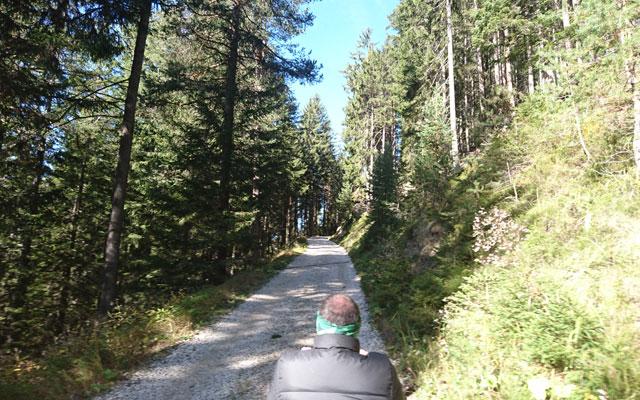 Wheelchair_Tours_Dolomiten_Rosengarten_Haniger_Schwaige_Weganfang_mit_baumi