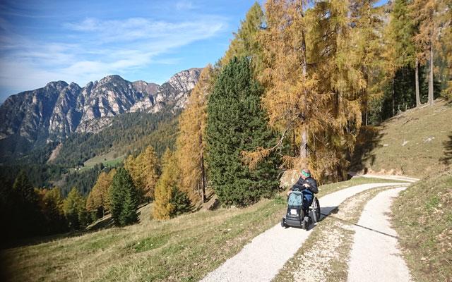 Wheelchair_Tours_Dolomiten_Rosengarten_Haniger_Schwaige_asphaltierte_Streifen