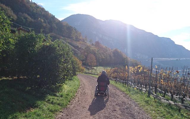 Tour in sedia a rotelle_Rollstuhl_Unterland_Trudner_Horn_Ausblick_Bahntrasse_Anfang_mit_Baumi