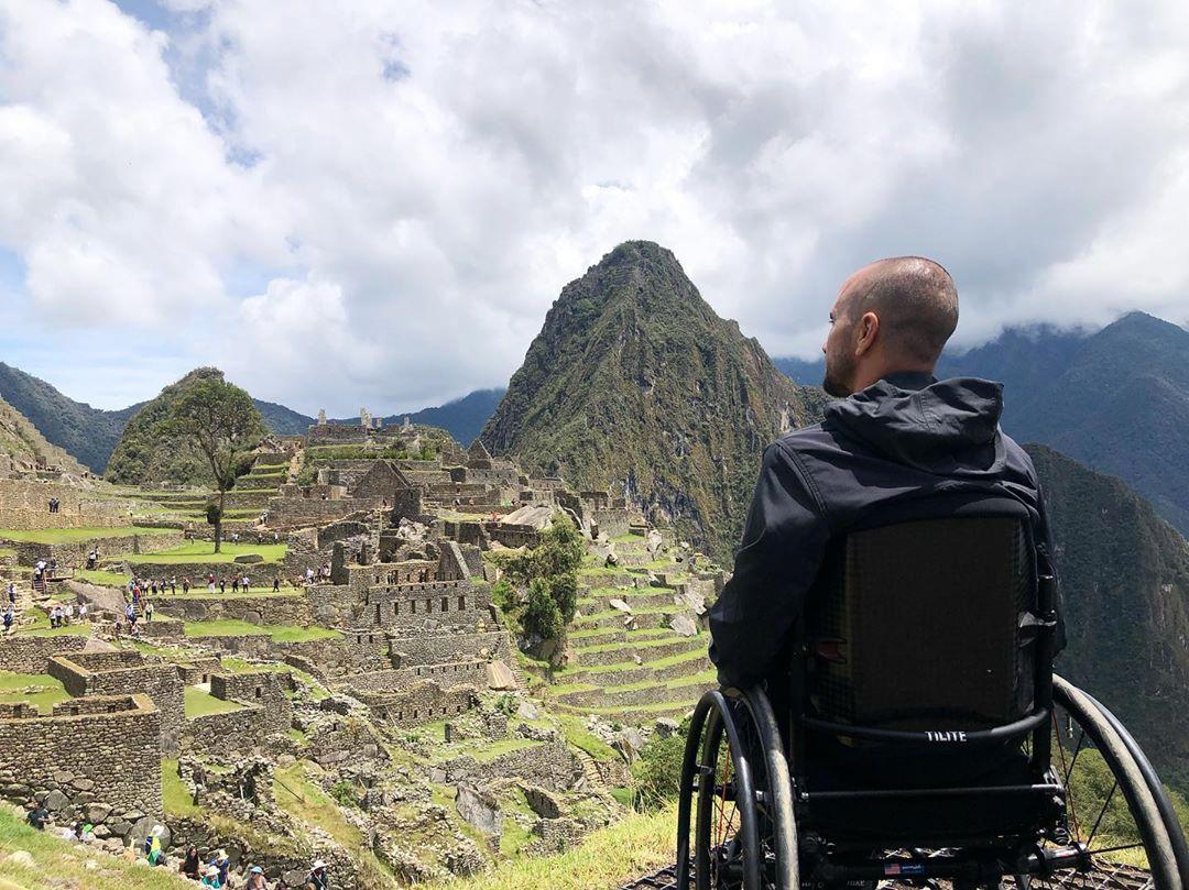 Soaking in the beautiful view at Machu Picchu, Peru.