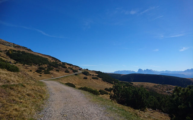 Hiking trail towards Getrumalm with view of the Dolomites