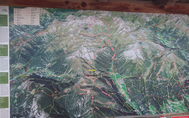 Hiking map at the mountain station of the Jochtal cable car